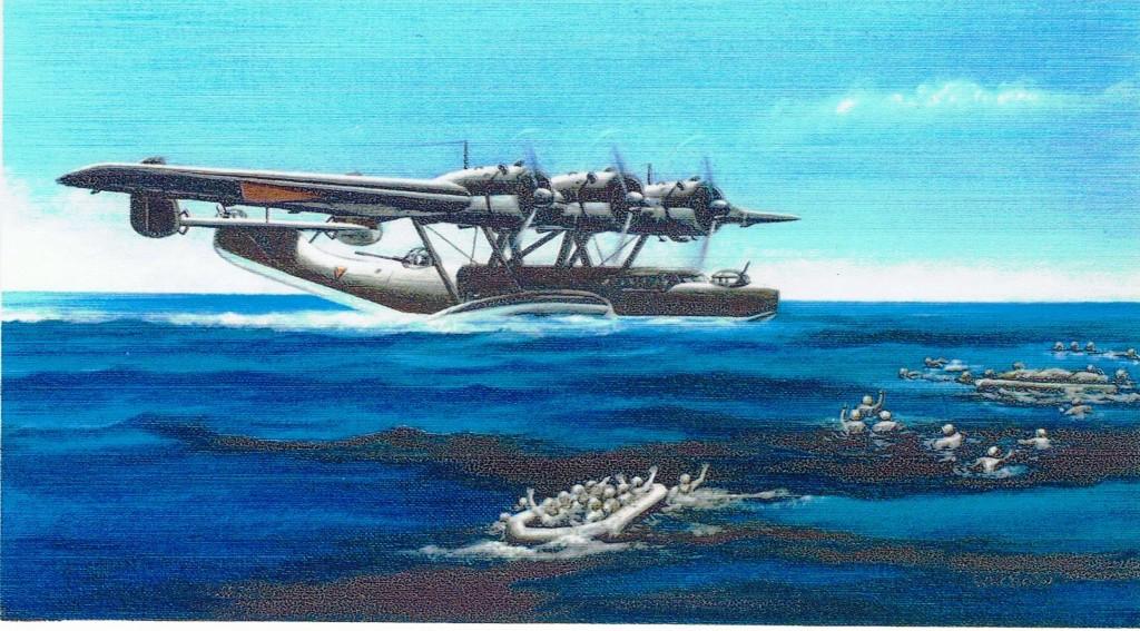 Een tekening van de situatie in zee bij de redding van de drenkelingen, zie de achtergrond de Dornier Do24k X-18