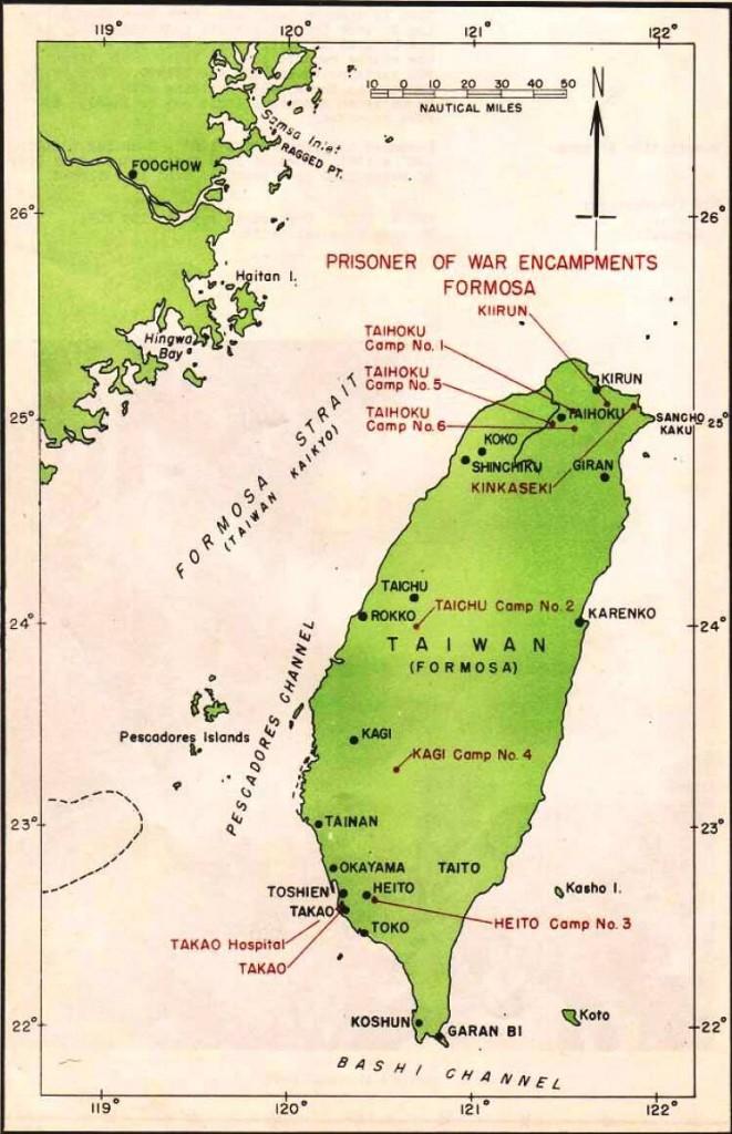 Formosa met de kampen die werden gebruikt voor de Special Party