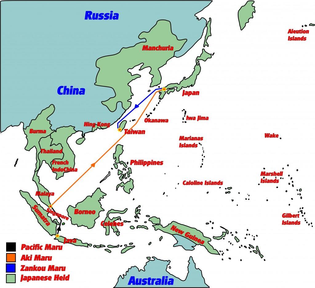 De route die werd gevaren met de Hellships met tussenpozen op verschillende locaties