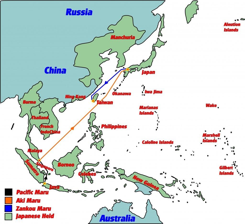 exacte route an de Aki-maru naar Japan