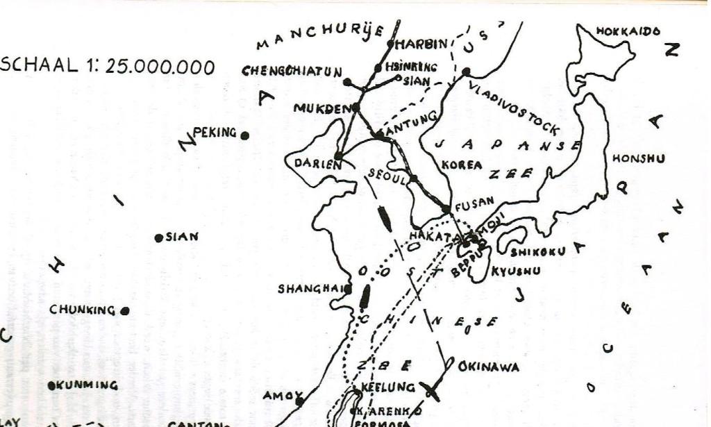 Spooorweg door Korea naar Mukden