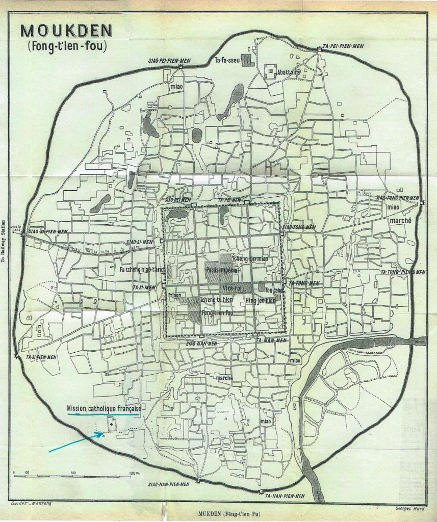 map van Mukden ( Shenyang) zie pijl